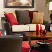 Red and Brown living room.-  Would love this color scheme in my living room.. although with the kids wouldn't choose the white cushions maybe the big brown pillow be a white pillow instead