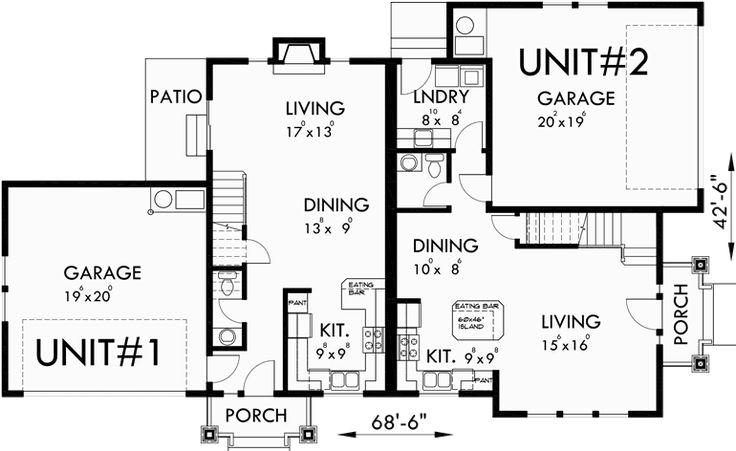 Main corner duplex house plans duplex for Corner duplex designs