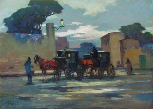 """Renato Natali (Livorno, 1883 - 1979), """"Carrozze"""" oil table 70 x 50 cm. Firenze Gallery."""