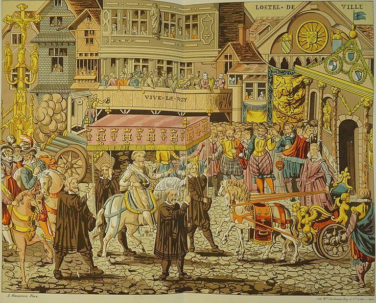 1595.Henry IV à Troyes. Henry IV accueilli par Françoise le Bé, fille du maire devant l'Hostel de ville.
