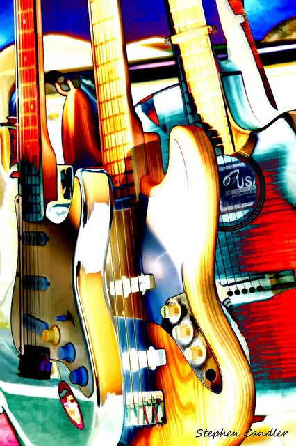 3 colorful guitars - #music