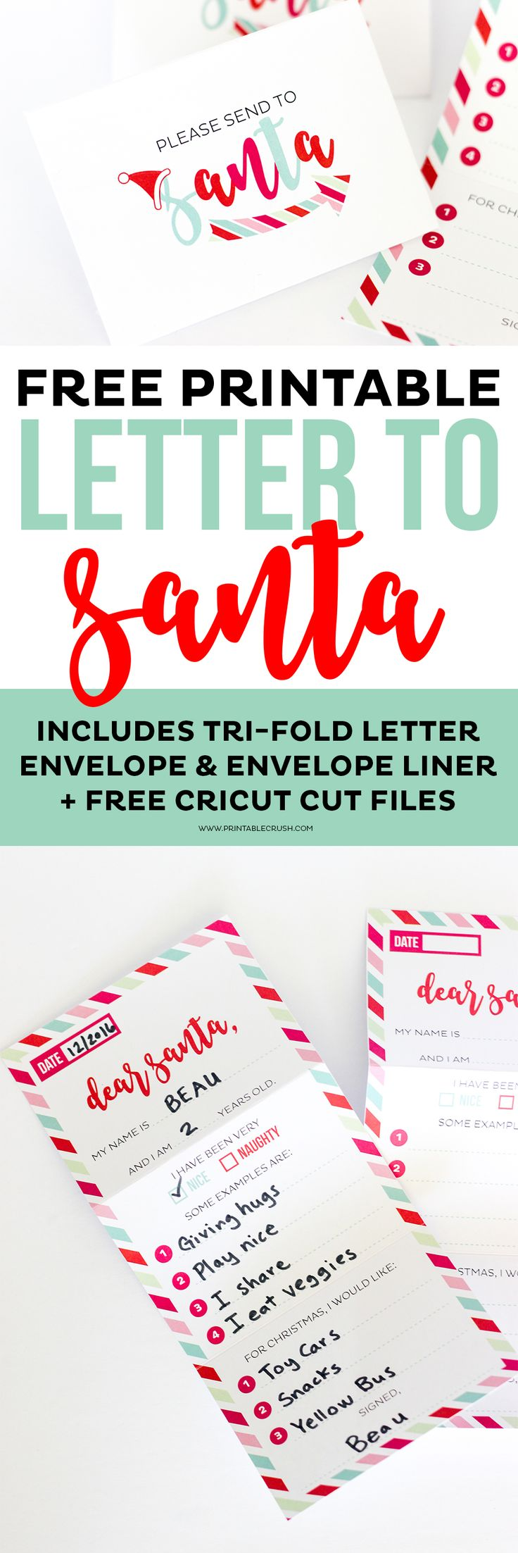This adorable FREE Santa Letter Printable Set includes a tri-fold letter, envelope, and envelope liner cut files! It is such a fun Christmas keepsake!