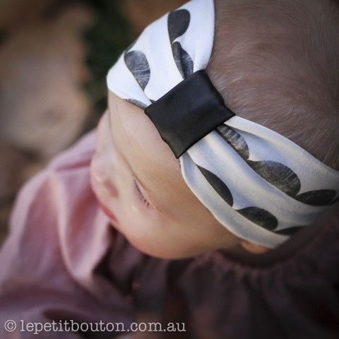 Le petit bouton 'Skyler' organic turban with faux leather feature available at www.lepetitbouton.com.au