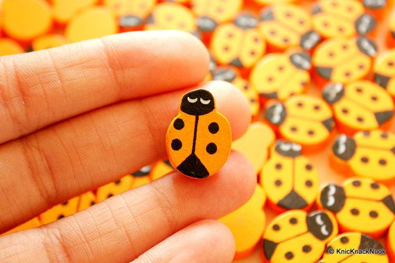 Orange Ladybug Wood Beads x 10 by KnicKnackNook on Etsy