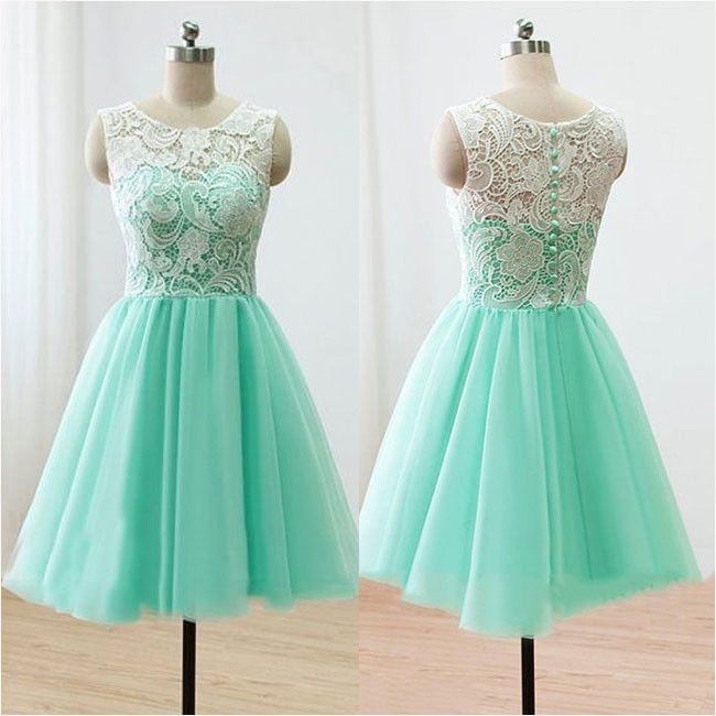 Mint Short Bridesmaid Dresses Ivory Lace Cheap Homecoming Dresses,apd1748