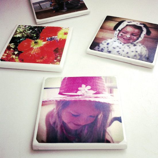 DIY Tile Photo Coasters~ A great gift idea for family, mom/dad or grandma/grandpa on Mothers or Fathers Day, Christmas, etc.