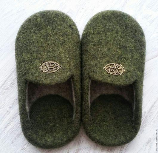 Обувь ручной работы. Тапочки мужские валяные, шерсть 100%. Саша Коняева (sanushka). Ярмарка Мастеров. Тапочки из шерсти