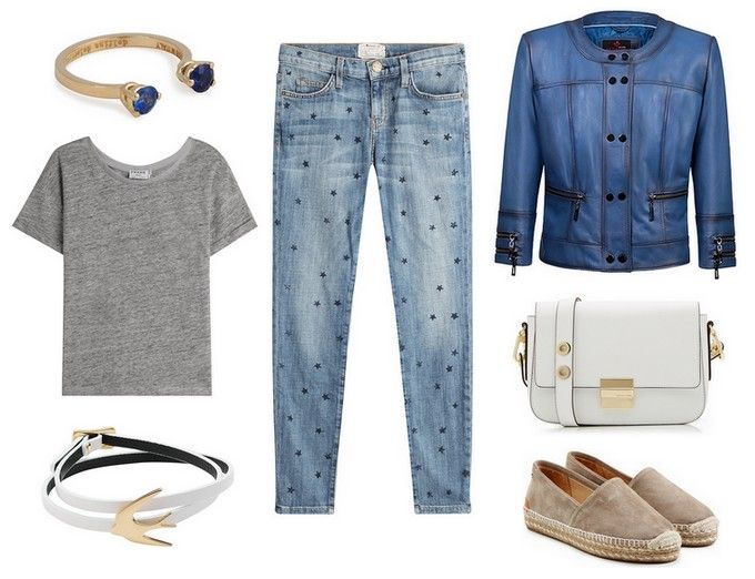gold ring with stones, jeans in the stars, gray t shirt, bracelet with a dove, espadrilles, white handbag, blue leather jacket - Mia - Verssen