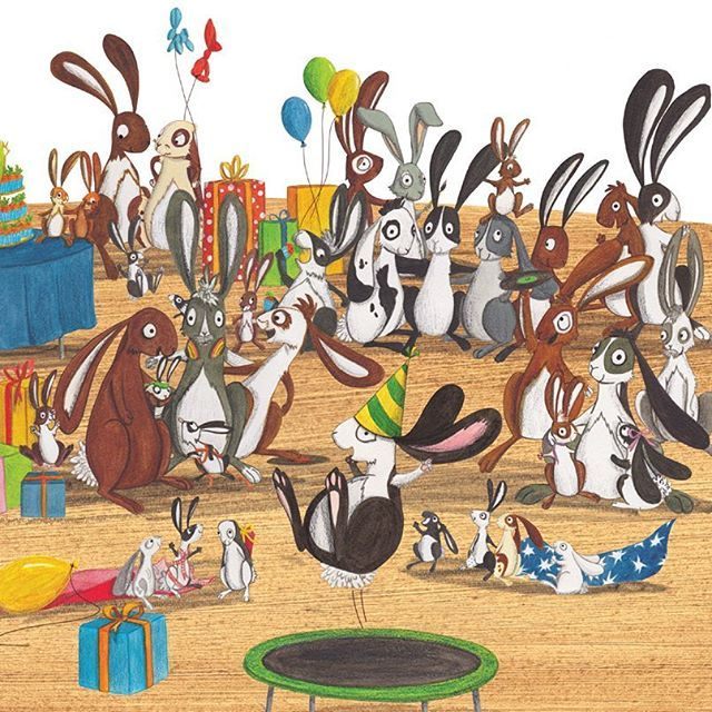 These rabbits from 'One More Rabbit' are wishing Margaret Wise Brown a very happy birthday! #ChildrensIllustration #Kidlitart #ParragonArt  #CharacterDesign #PictureBook #Illustration #Kidsbooks #Childrensillustrator #Artist #Drawing