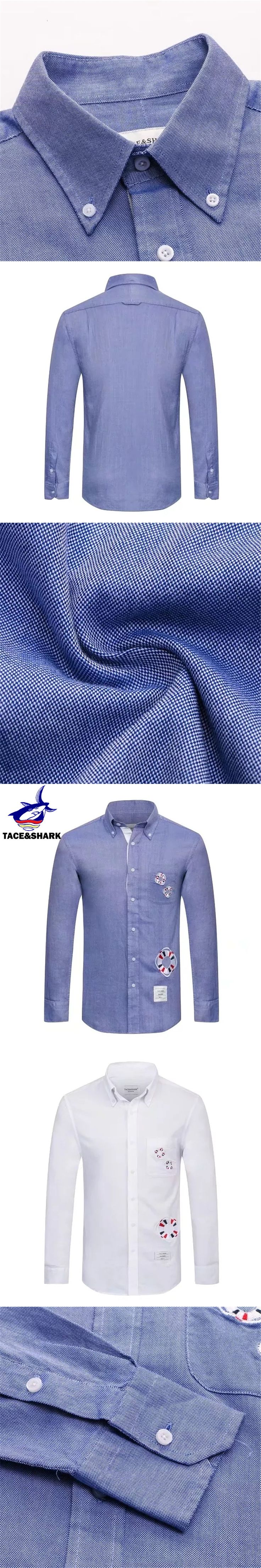High quality Brand Tace & Shark Men Long Sleeve Shirt Slim Fit Cotton Smart Casual Spring Autumn Formal Male Shirts