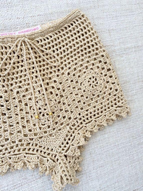 Bohemian High Waist crochet BALI PANT/ SHORTS. by VelvetRainbows