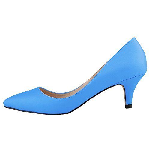 HooH Damen Matte Rutsch Süßigkeit Farben Büro-Dame Mary Jane Arbeit Pumps-Blau-40 - http://on-line-kaufen.de/hooh/40-eu-hooh-damen-matte-rutsch-suessigkeit-farben