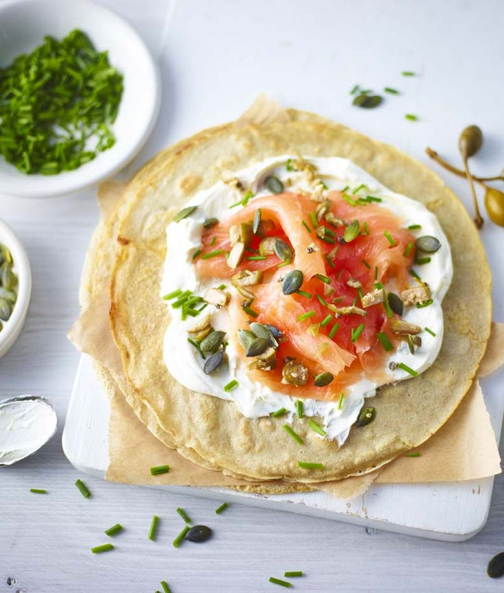 Buckwheat pancakes with smoked salmon and citrus cream cheese. Buckwheat is a naturally gluten-free flour with a subtle nutty flavour that lends itself well to savoury pancakes