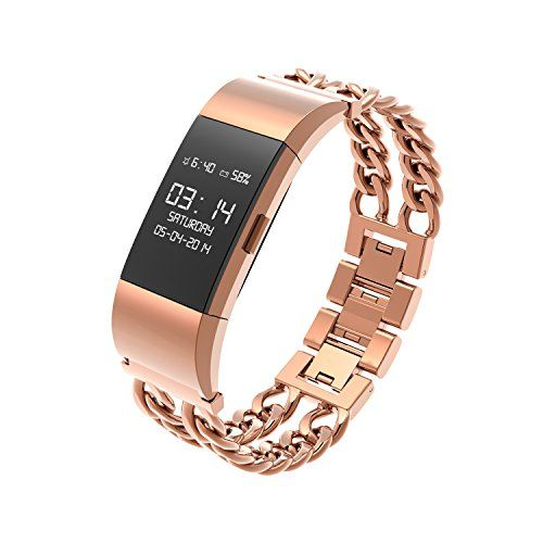 Wearlizer Metal Watch Bands Replacement Bracelet for Fitbit Charge 2 - Rose Gold Small - http://physicalfitnessshop.com/shop/wearlizer-metal-watch-bands-replacement-bracelet-for-fitbit-charge-2-rose-gold-small/ http://physicalfitnessshop.com/wp-content/uploads/2017/02/b1e83ac7360d.jpg