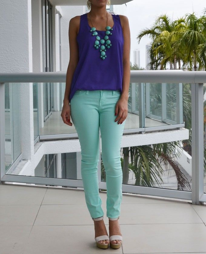 Mint And Purple Outfit Inspiration. Entire Look Avail. At Love Shopping Miami