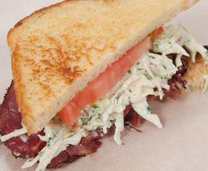 Bacon Fried Pastrami With Cumin Coleslaw Sandwiches
