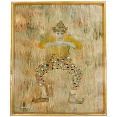 A Midcentury Mixed Media of a Harlequin by Mexican Artist Leonardo Nierman