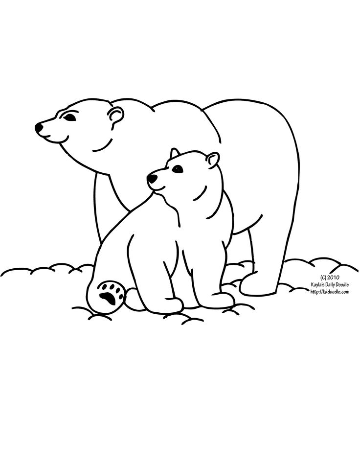 polar bear mom and baby coloring page - Baby Arctic Animals Coloring Pages
