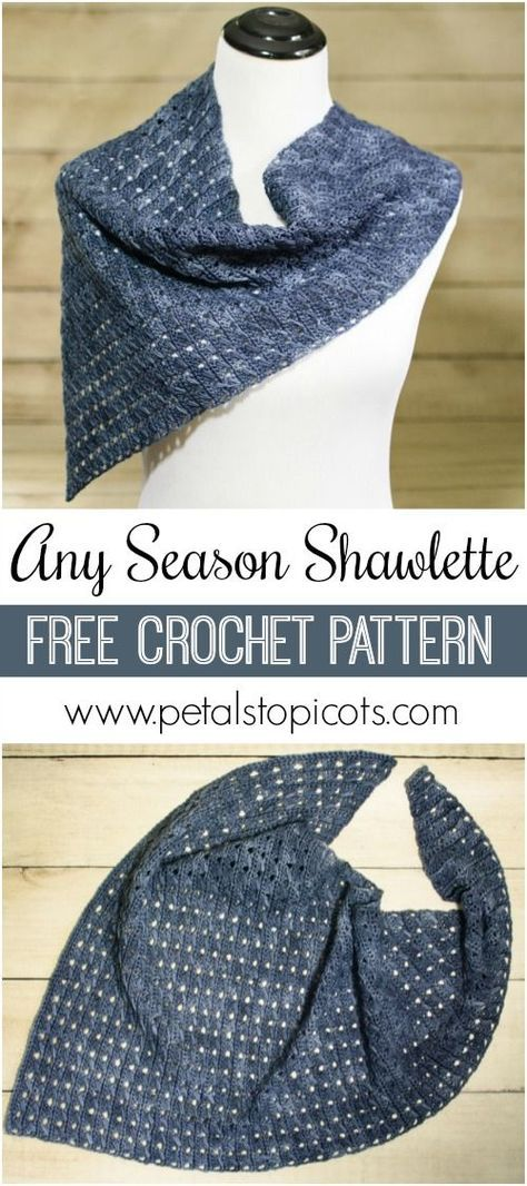 I am in love with this asymmetrical shawlette ... and it's a FREE crochet pattern too! #petalstopicots