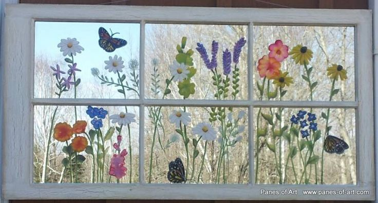 "Flowers painted on an old window! >Panes of Art by: Michele L. Mueller $210.00 ""Monarch Garden"""