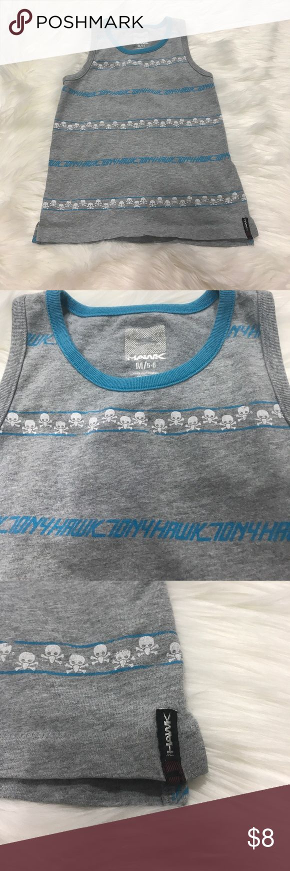 Super bro boys Tony Hawk tank top Rad boys Tony Hawk tank top in a size M (5/6) in excellent preowned condition! Cute skull and crossbones all over it. A must have for any skater dude!  I always give great discounts on my kids gear, so make sure you bundle to save! I'll send over an offer just for you! 🐼 Tony Hawk Shirts & Tops Tank Tops