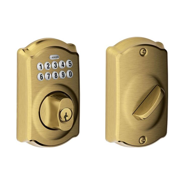 Schlage BE365 CAM 609 Camelot Keypad Deadbolt, Antique Brass