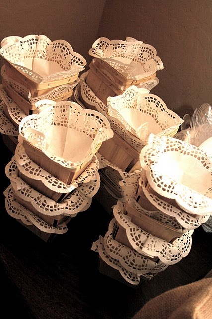 Doily lined baskets for a Picnic/strawberry party, snacks, etc..pretty!