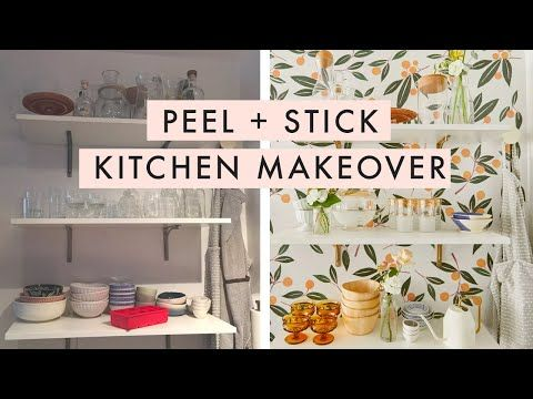 Rental Kitchen Makeover Under 500 With Peel And Stick Wallpaper Youtube Rental Kitchen Makeover Rental Kitchen Kitchen Makeover