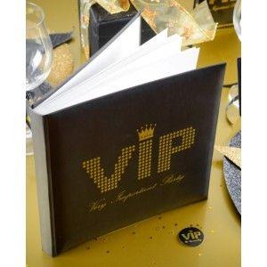 Livre d'or noir inscription Very Important Party, Vip en motifs points avec motif couronne pailleté or, 22 pages qualité luxe.