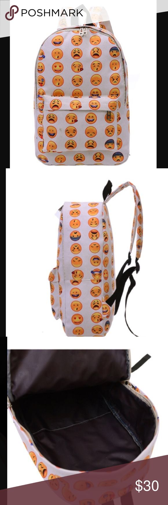 """Emoji Backpack So cute emoji backpack . Canvas material . Bag height is about 16"""". Length is 11"""". Big enough for books . Get ready for back to school. BUNDLE AND SAVE . Boutique Bags Backpacks"""
