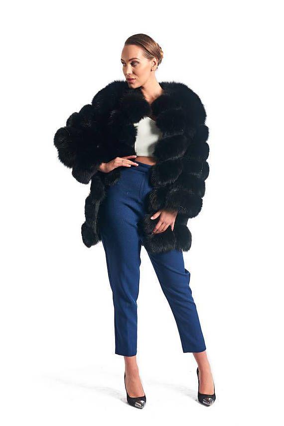 422a260919255 Luxury gift Black Fox Fur Coat Women s Brand New All sizes SAGA MEXA DAWN