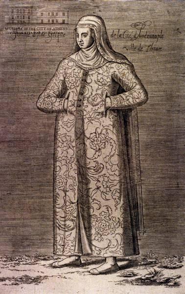 NICOLAS DE NICOLAY Greek woman from Thrace 1662, copper engraving, 27 x 17 cm