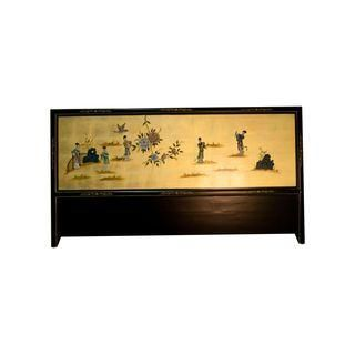 Asian Headboard w/Soapstone Carving - A King