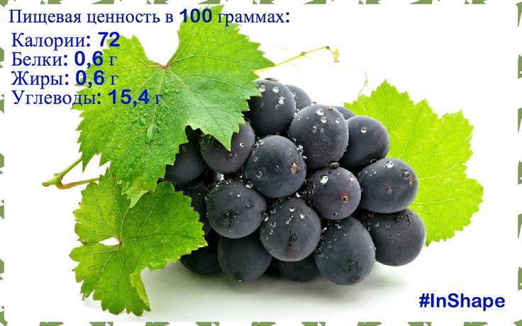 Осень - время урожая винограда. Решили напомнить Вам о его полезных свойствах:) Виноград – это отличное общеукрепляющее и тонизирующее средство. В плодах винограда содержатся сахар, клетчатка, органические кислоты, аскорбиновая кислота, витамин В, пектиновые вещества, микроэлементы, ферменты. Установлено, что виноград оказывает стимулирующее действие на костный мозг. #InShape #healthyfood #grapes #будьвформе  #опользевинограда #собираемурожай #осеньвремявитаминов