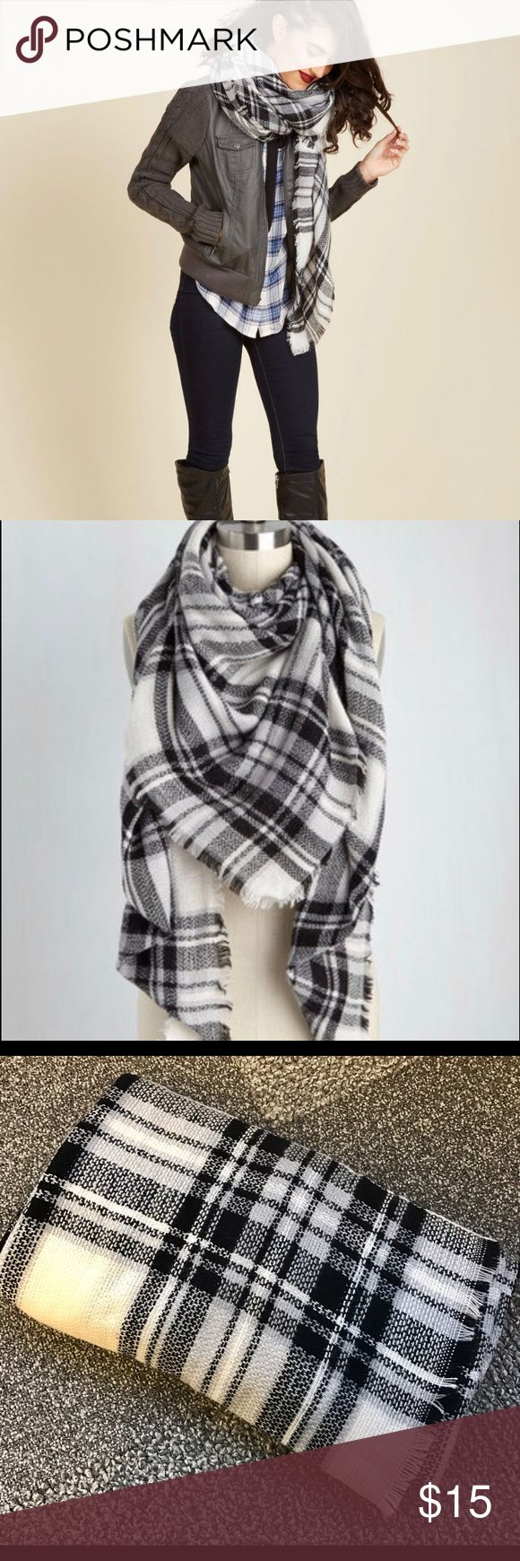 """Modcloth Blanket Scarf Black white and grey blanket scarf 55"""" x 55"""" - brand new - very soft - can be worn multiple ways! ModCloth Accessories Scarves & Wraps"""