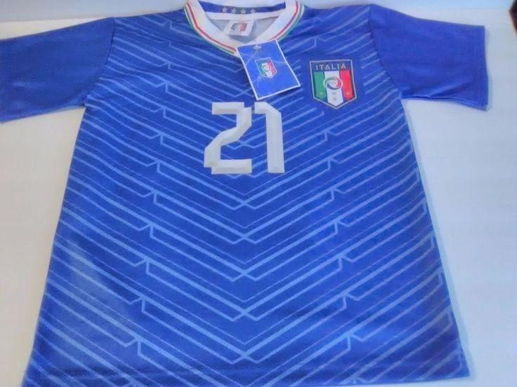 Authentic Italia Soccer Club Classic Blue Andrea Pirlo #21 Kids Jersey Italy #Italy