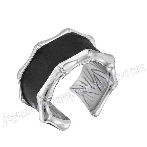 Material: Acero Inoxidable   Nombre:Anillo negro de acero de forma puente   Model No.:SSRG109
