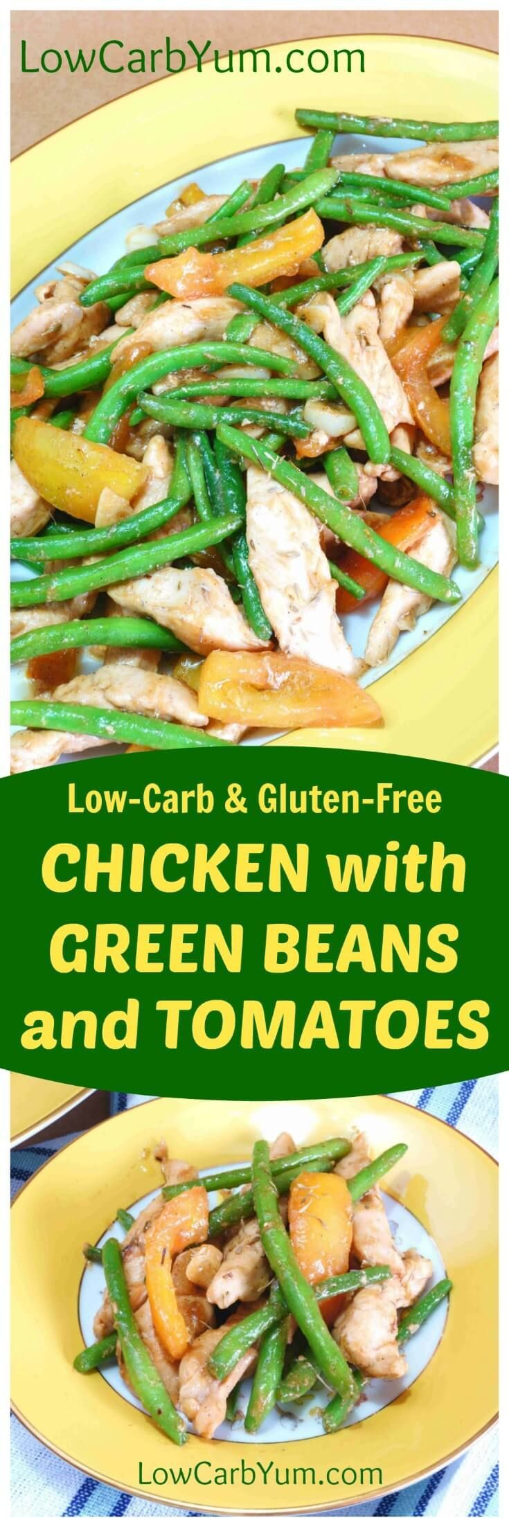A wonderful chicken stir fry that cooks up fast in a skillet. This easy chicken green beans and tomatoes dish makes a healthy low carb meal. | http://LowCarbYum.com