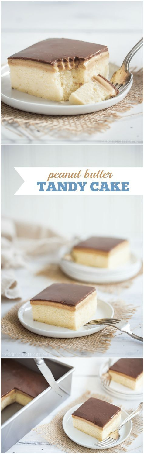 Peanut Butter Tandy Cake (aka Kandy Kake): this took me straight back to my childhood! Even better than the Tastykake original, with soft, butter-y sheet cake, topped with peanut butter and milk chocolate ganache. food desserts cake via @bakingamoment