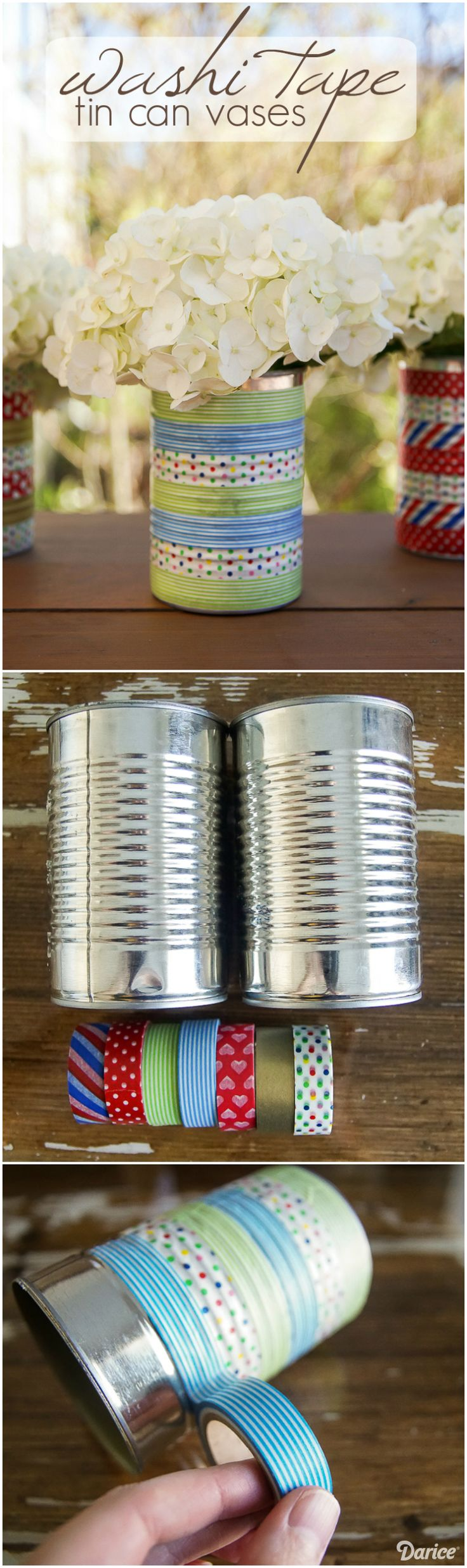 Check out this cheap and affordable way to turn used cans into beautiful washi tape tin can craft vases in only a few minutes and with a few supplies!