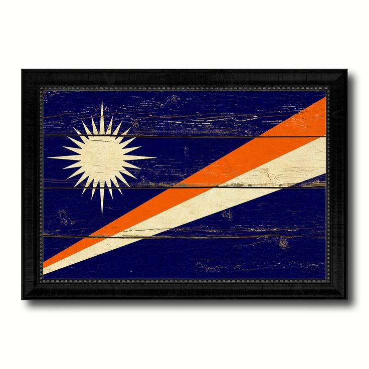 Marshall Islands Country Flag Vintage Canvas Print with Black Picture Frame Home Decor Gifts Wall Art Decoration Artwork