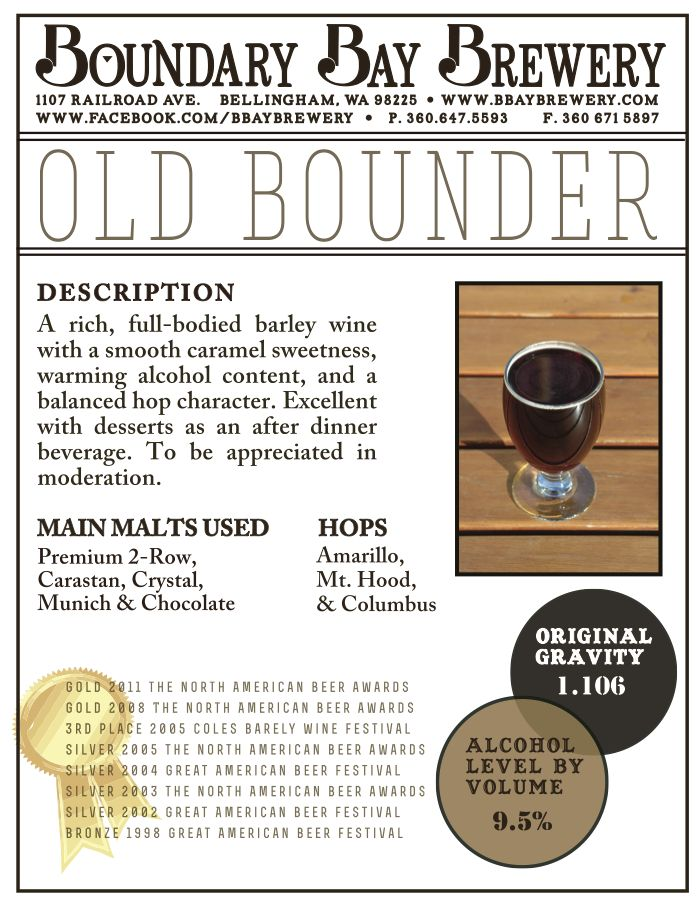 image of Old Bounder sourced from Boundary Bay Brewing's Pinterest page