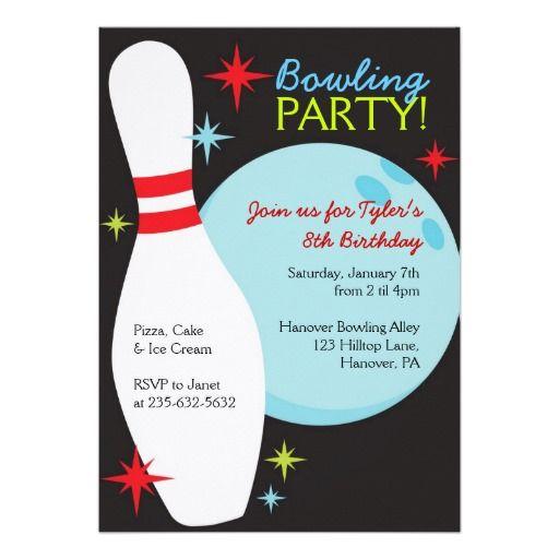 53 best Bowling Invitation Ideas images on Pinterest Birthdays - bowling invitation