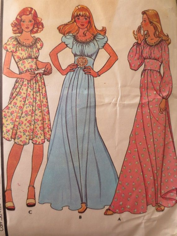 Vintage McCalls 4481 Sewing Pattern, Boho Dress Pattern, 1970s Dress Pattern, Maxi Dress Pattern, Bust 31 and  Half Inches