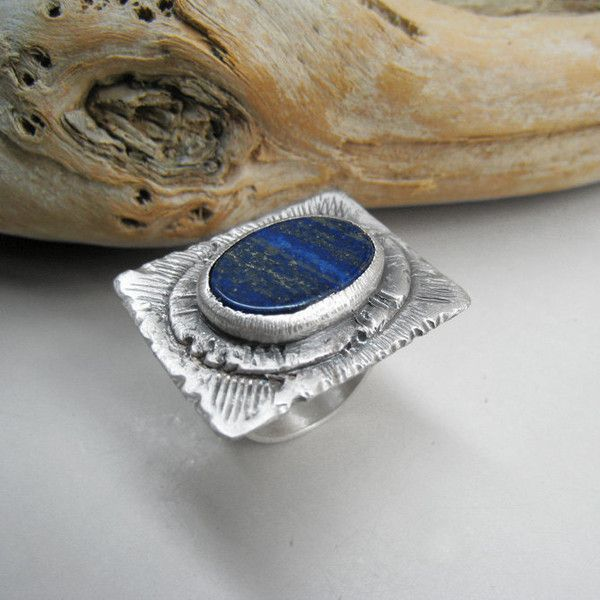 Lapis Lazuli Ring Gemstone Statement Cocktail Sterling Silver Blue... ($96) ❤ liked on Polyvore featuring jewelry and rings