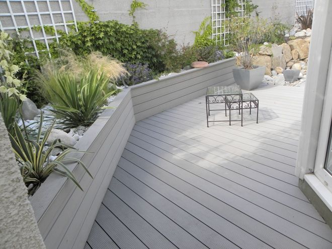Terrasse bois composite et galets jardin pinterest for Photos de terrasse