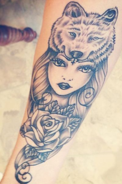 wolf girl tattoo                                                                                                                                                                                 More