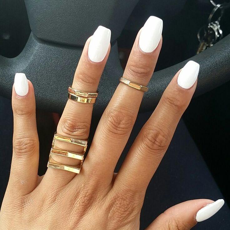 Spring White Coffin Shape Nails | .mine. | Pinterest | The ...