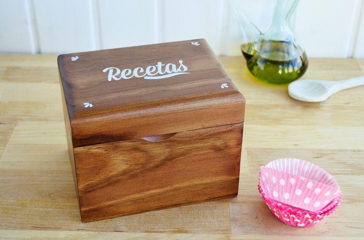 Caja de madera para guardar fichas de #recetas