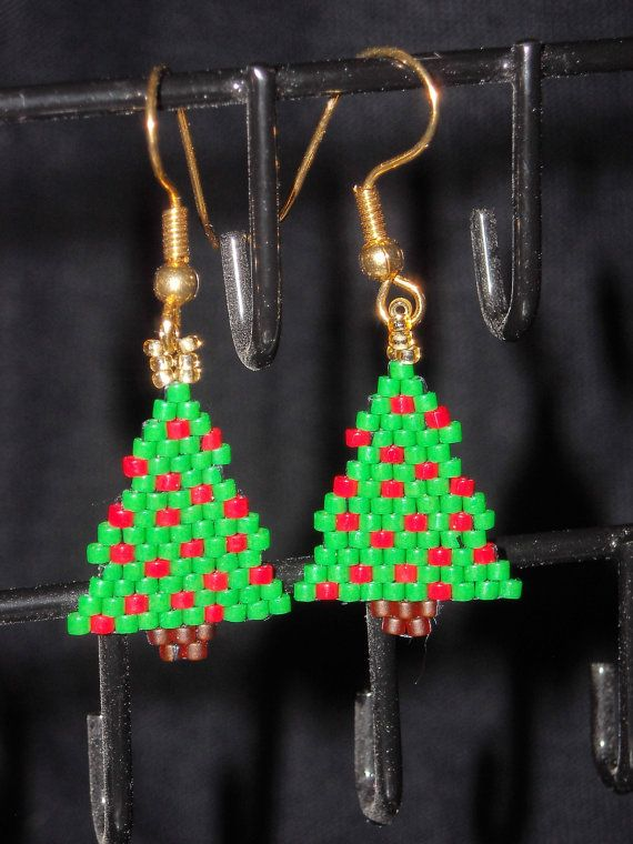 Christmas Tree Beadwoven Dangle Earrings, Brick Stitch. Opaque Green and Red FREE SHIPPING